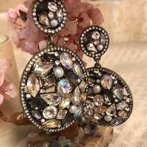 Multi stone circular disk hoop earrings